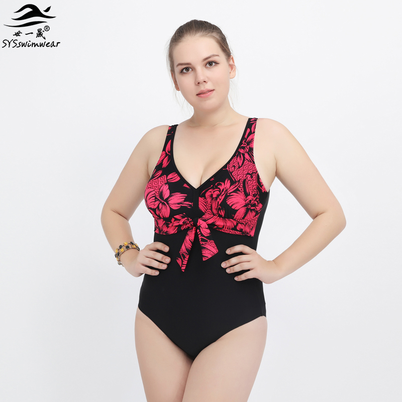 High Quality Plus Size Floral & Geometric Big Breast Sexy Women One Pieces Swimwear Backless Swimsuit Summer Beach Bathing Suit plus size scalloped backless one piece swimsuit