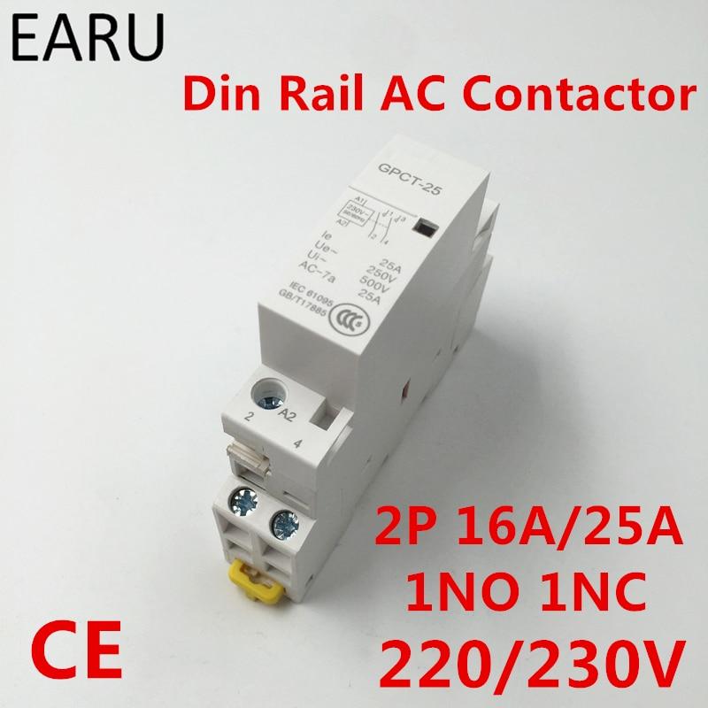 2 P 16A 25A 1NC 1NO 220 V 230 V 50/60 HZ Din Rail Famiglia Contattore di ca di Un Normale Aperto Un Normale Chiudi per Home Hotel Resturant