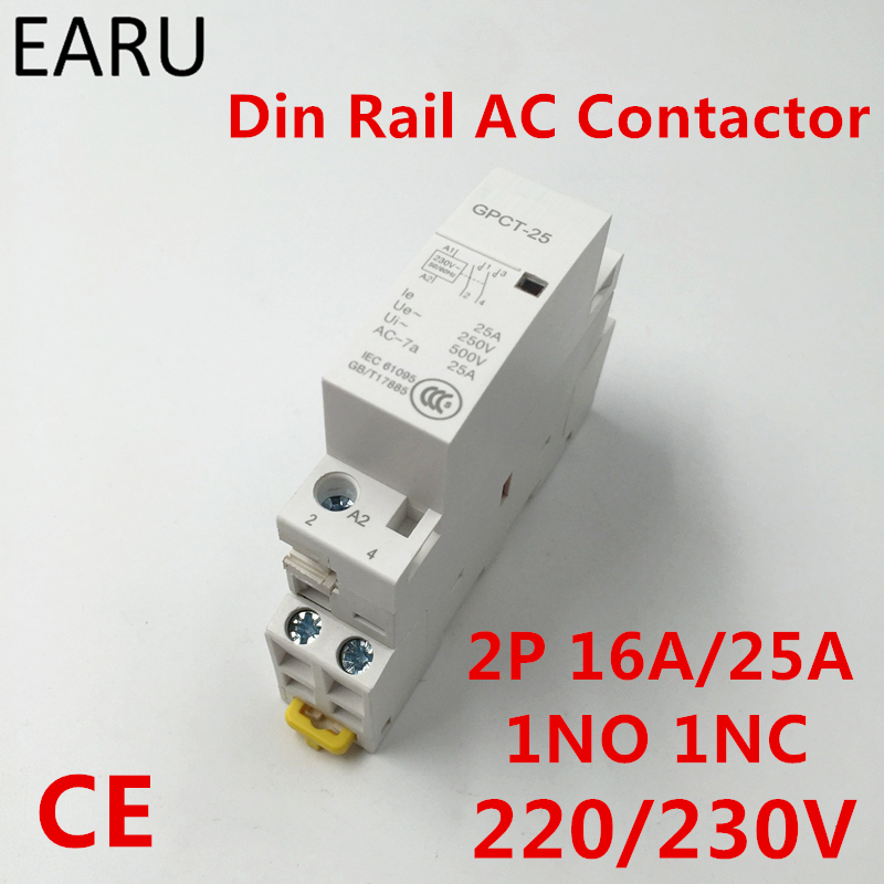 2P 16A 25A 1NC 1NO 220V 230V 50/60HZ Din Rail Household Ac Contactor One Normal Open One Normal Close for Home Hotel Resturant ct 2p 25a no nc ac220v home ac contactor often open ct1 25 25a lyn brand