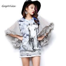 Horse sequined dress England style gauze sleeve pullover tassel streetwear for feminino rock punk rivet sweatershirt LT095S20(China)