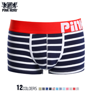 Image 5 - New!5pcs/Lot Pink Heroes Fashion Underwear Men Boxer High quality Cotton Male Panties Striped Underpants Comfortable