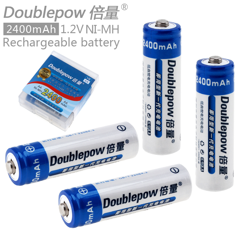 Doublepow 4pcs AA 1.2V 2400mAh High Capacity Ni-MH LSD Rechargeable Battery with Radiating Hole for Cameras / Toys / Headlamps