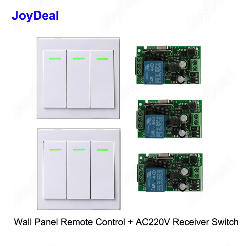 433 Mhz Ac 220v 3 Way Channel Remote Control Switch + Wall Panel Transmitter Remote Home Room Stairway Led Light Lamp Bulb Rx Tx