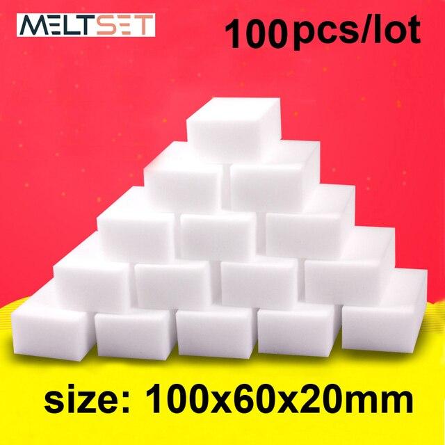 100 pcs/lot Melamine Sponge Magic Sponge Eraser Kitchen Melamine Sponge Cleaner Cleaning Sponge for Office Bathroom