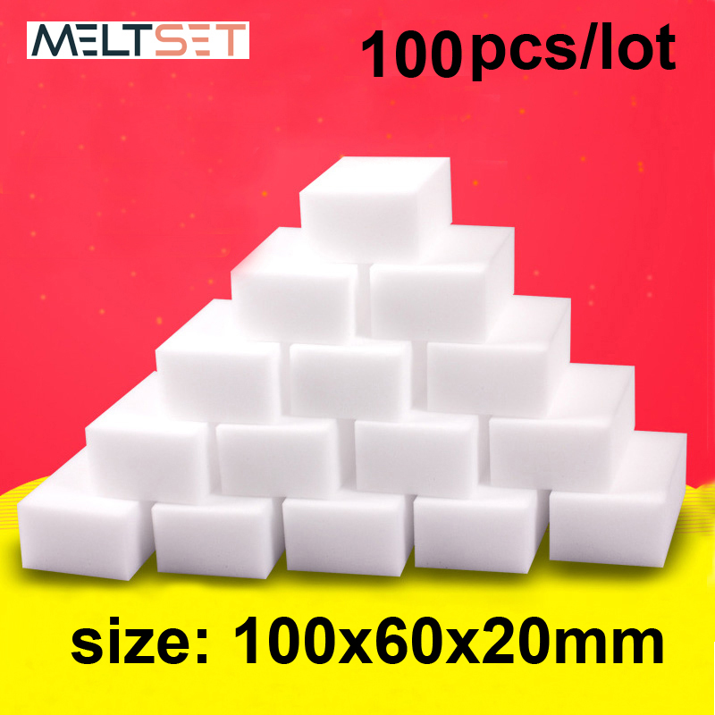 100 pcs/lot Melamine Sponge Magic Sponge Eraser Kitchen Melamine Sponge Cleaner Cleaning Sponge for Office Bathroom