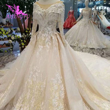 AIJINGYU Wedding Gown Lace Gowns Vintage Pakistani Finland Ball Luxury 2021 2020 Real Cathedral Dress Pakistani Wedding Dresses