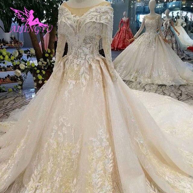 AIJINGYU Wedding Gown Lace Gowns Vintage Pakistani Finland Ball Luxury 2021 2020 Real Cathedral Dress Pakistani Wedding Dresses