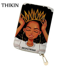 THIKIN Fshion Traditional African Art Women Pattern Card Holder for Women Cardholder PU Leather Passport ID Card Case Bag i love london pattern pu leather passport holder red white blue