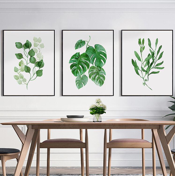 Gerahmte new simple aquarell grün palm tree blätter wall art set hd ...