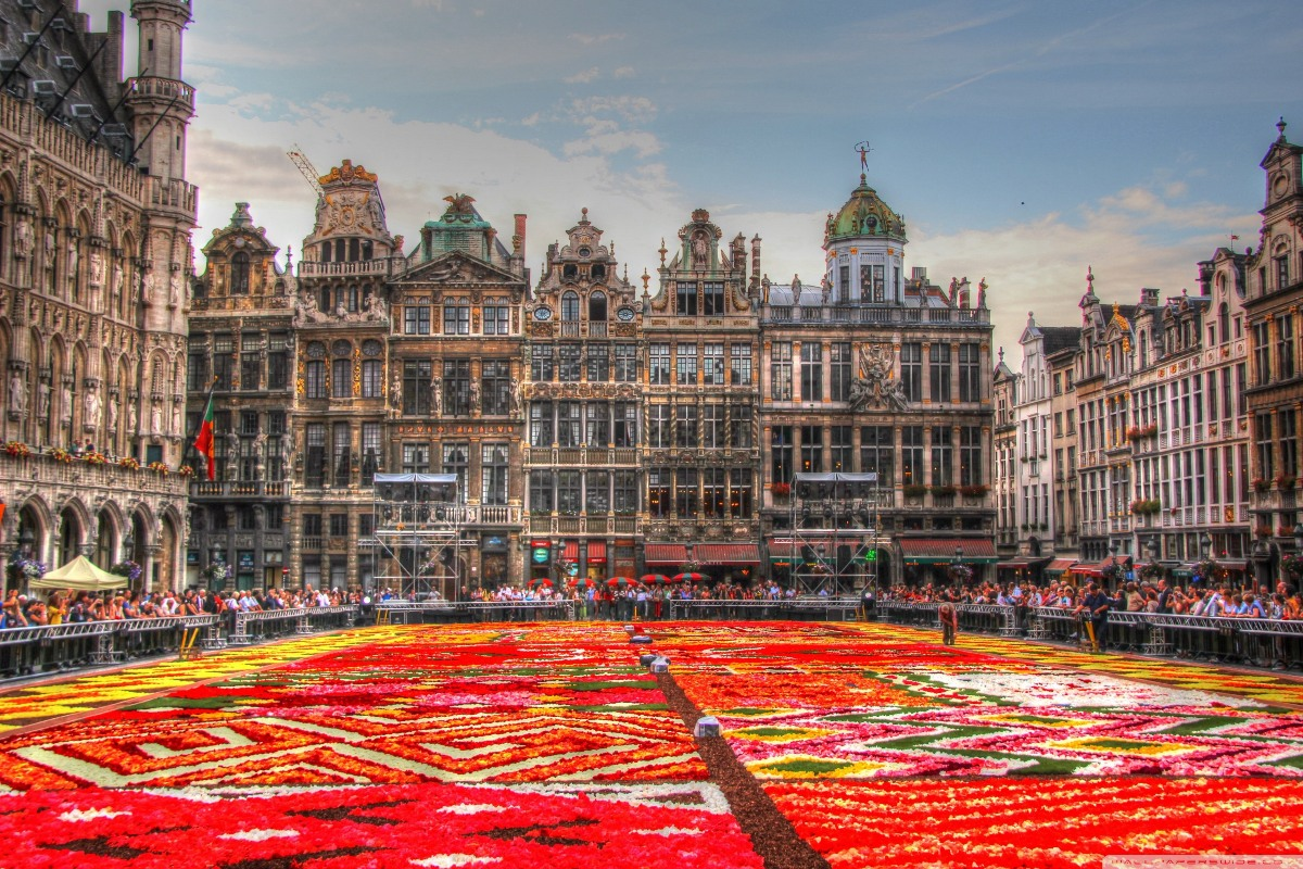 Flowers Carpet Grand Place Brussels Belgium Wall Art Canvas Fabric Poster Print Home Decor Room Decoration Frame Available