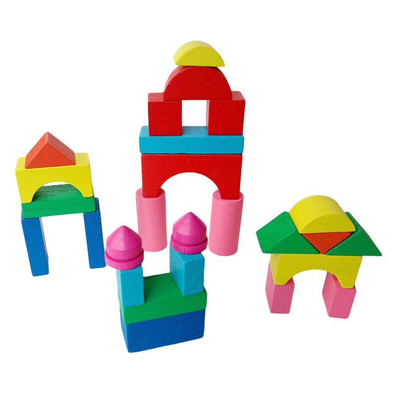 26-50pcs/set Kid Wooden Mini Castle Building Brick Blocks Geometric Shape Educational Toys Assembled Game Environment Friendly