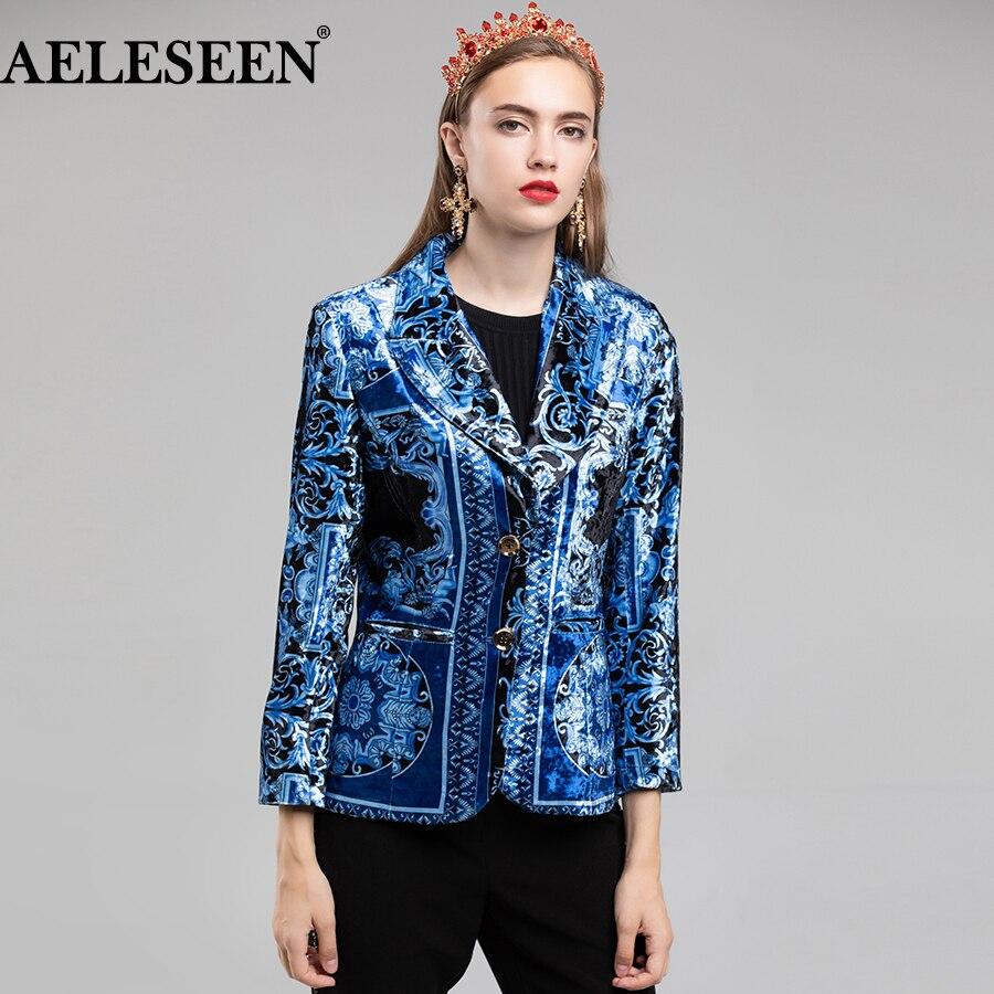 AELESEEN Velvet Jacket Blazer 2018 Autumn Winter Designer Women Luxury Royal Blue Printed Slim Long Sleeve Blazer
