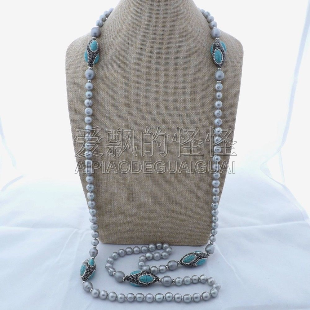 Chain Necklaces Jewelry & Accessories N070182 55 Grey Pearl Blue Stone Long Necklace To Have A Unique National Style