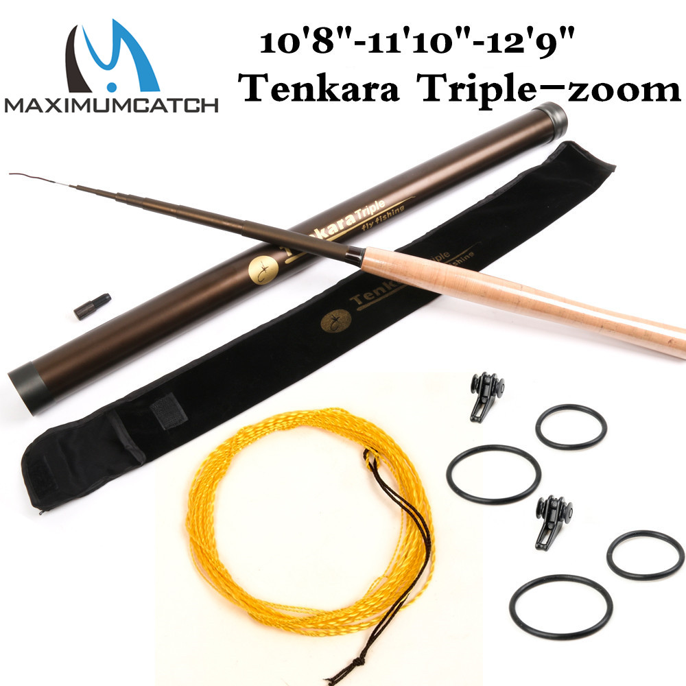 "Maximumcatch Tenkara Fly Rod قضيب تكبير ثلاثي (10'8 ""، 11'10"" ، 12'9 "") & Line Tenkara Telescoping Fly Fishing Rod Combo"