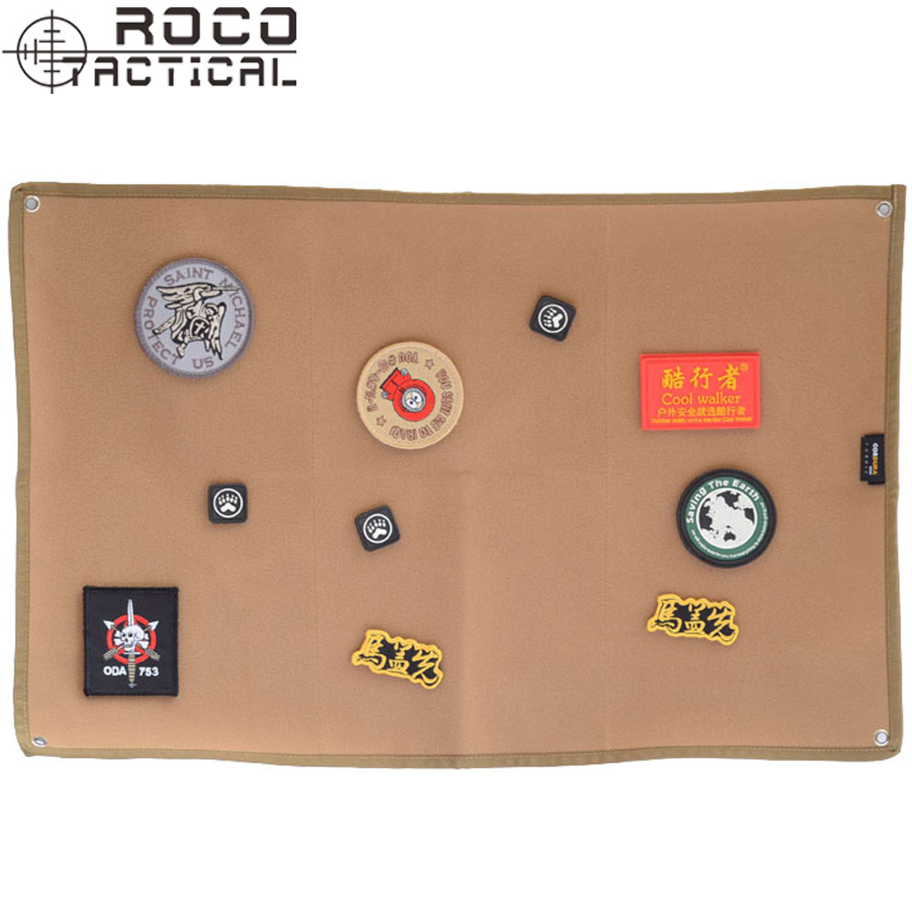 ROCOTACTICAL Military Patch Holder Board Army ID Holder Panel Pacth Badges Folding Mat for Morale Patches Black/Coyote Brown ...