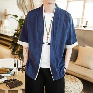 Image 5 - ذكر سترة اليابانية الشارع الشهير خمر ملابس رجالي الصينية الكتان سترة للرجال ملابس 2019 رجل كيمونو سترة ZZ2006