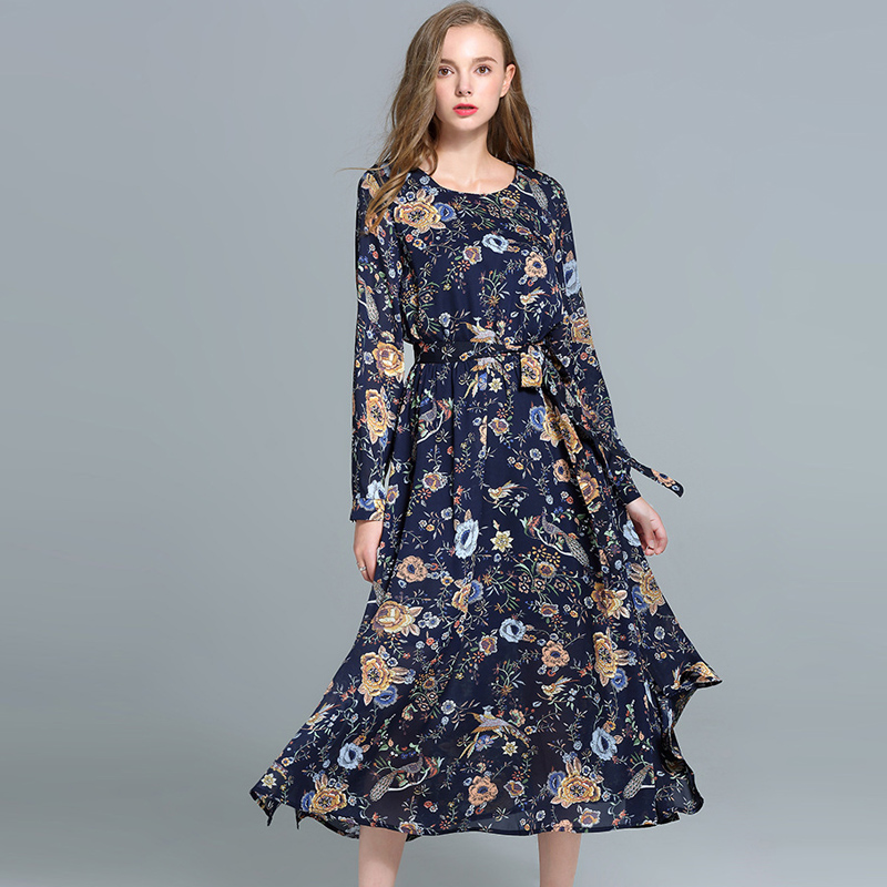 Women Autumn Fashion Chiffon Print Bohemian Large Size