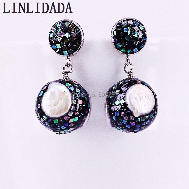 4Pair New Arrival Tiny Abalone Shell And Freshwater Pearl Round Ball Dangles Earrings Women Charm Earring-in Drop Earrings from Jewelry & Accessories    3