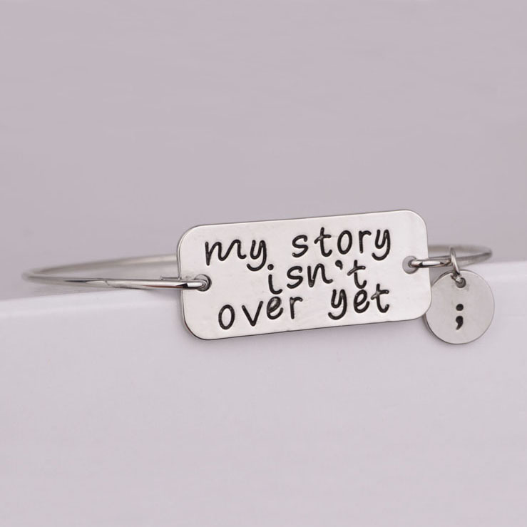 My Story isn't Over Yet Bangle Bracelet, Semicolon Bracelet and Semicolon necklace , Mental Health Awareness Jewelry YPQ0520 image