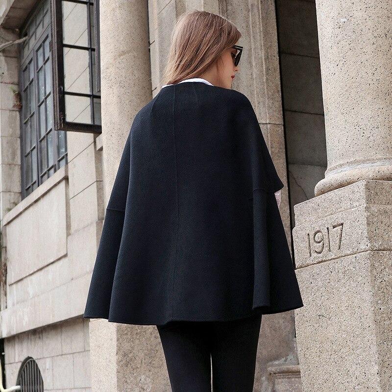 Pour Noir Manteaux Cachemire À La Court Bureau Laine Face Main De D'hiver Dame Double Femmes Manteau Vêtements fwxt6aqFzX