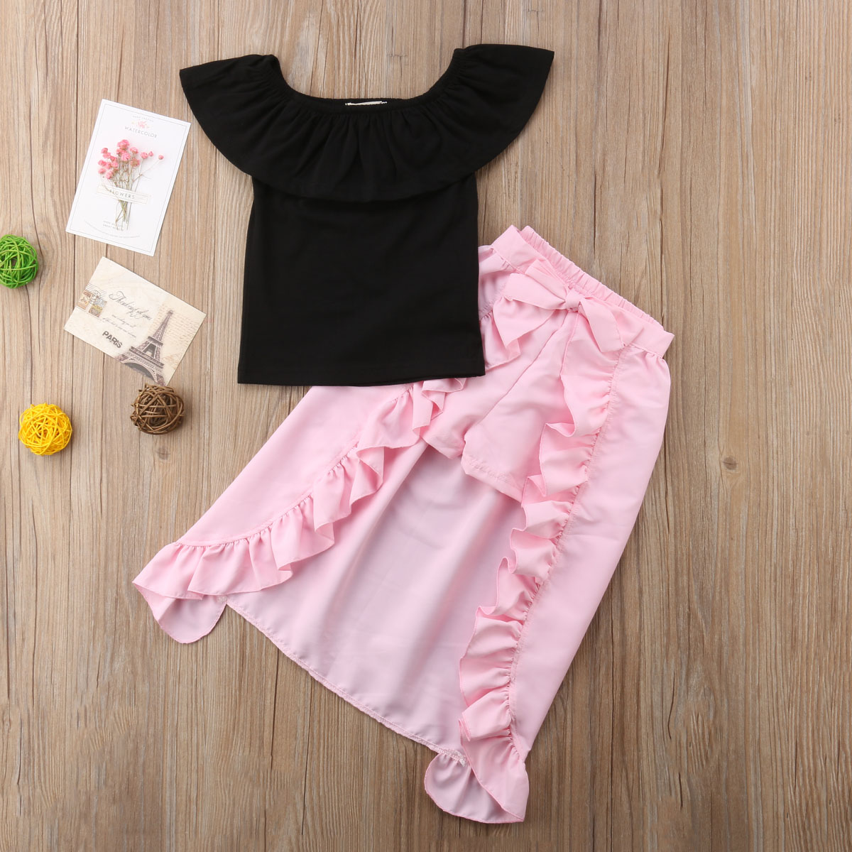 Pudcoco Hot Sale 3Pcs/Set Boutique Kids Baby Girl Off Shoulder Top Shorts Skirt Clothes Outfits 1-5T