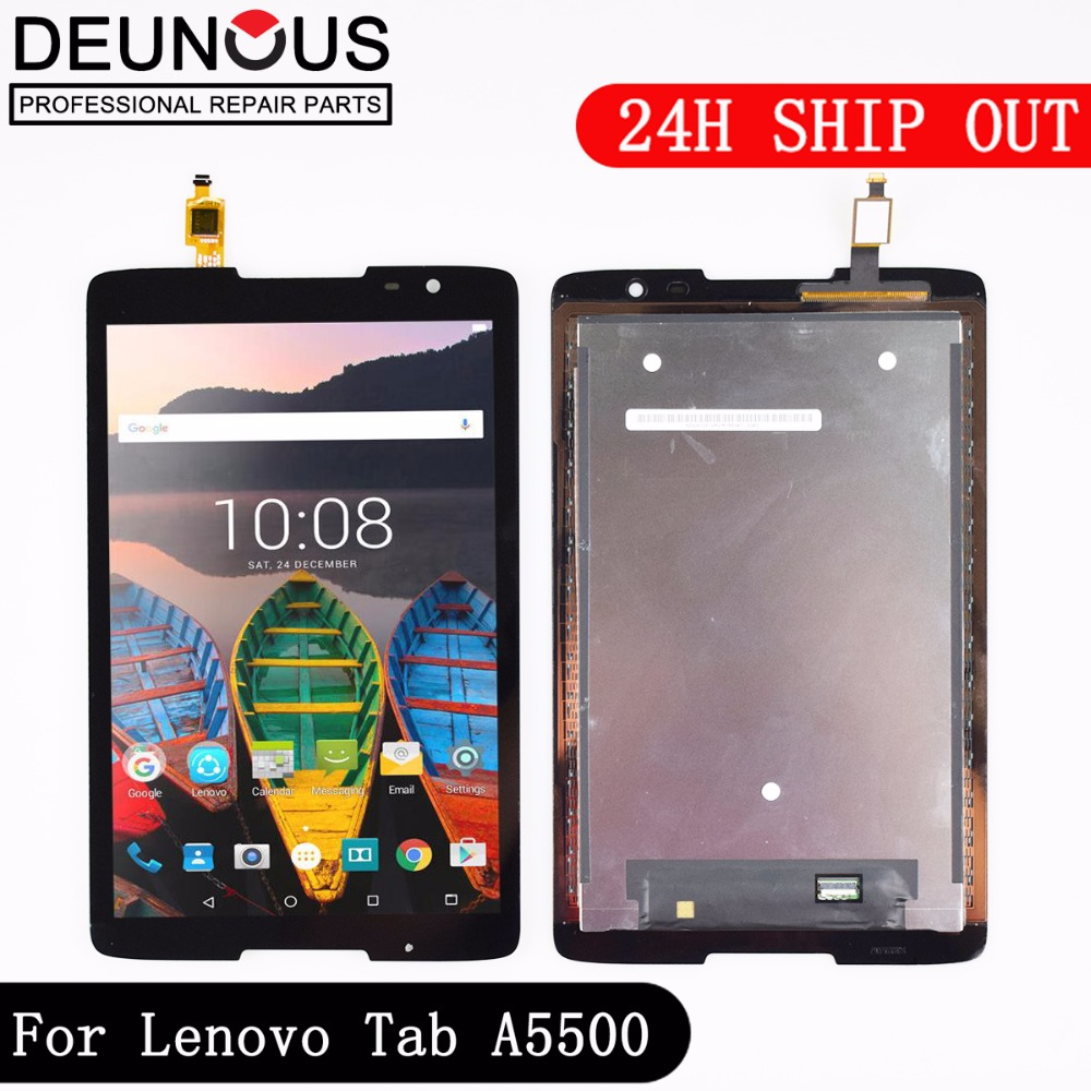 New 8 inch LCD Display + Touch Screen Assembly For Lenovo A8-50 A5500 A5500-F A5500-H A5500-HV Replacement luxury folio stand magnetic leather protective case cover for lenovo tab a5500 a8 50 a5500 hv 8 1x clear screen protector
