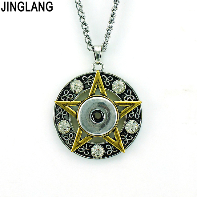 Free shipping fashion golden rhinestone star 18mm ginger snap free shipping fashion golden rhinestone star 18mm ginger snap buttons interchangeable pendants necklaces for men jewelry aloadofball Images