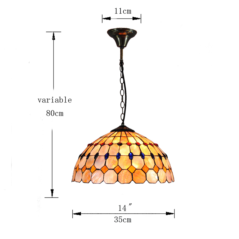 Victorian Creative Stained Glass Suspension Lamp Lighting 1 Light Modern Simple Restaurant Pendant Lights Fixture 14 Shade P803