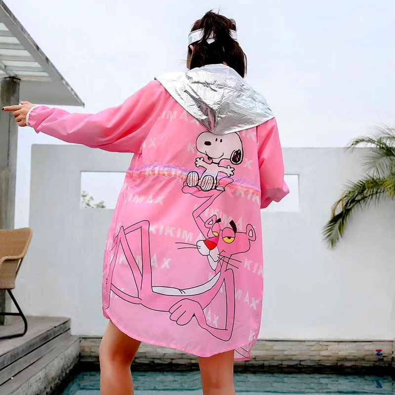 Tide brand sunscreen clothing female long section loose large size cartoon printing ageing wild cardigan thin coat