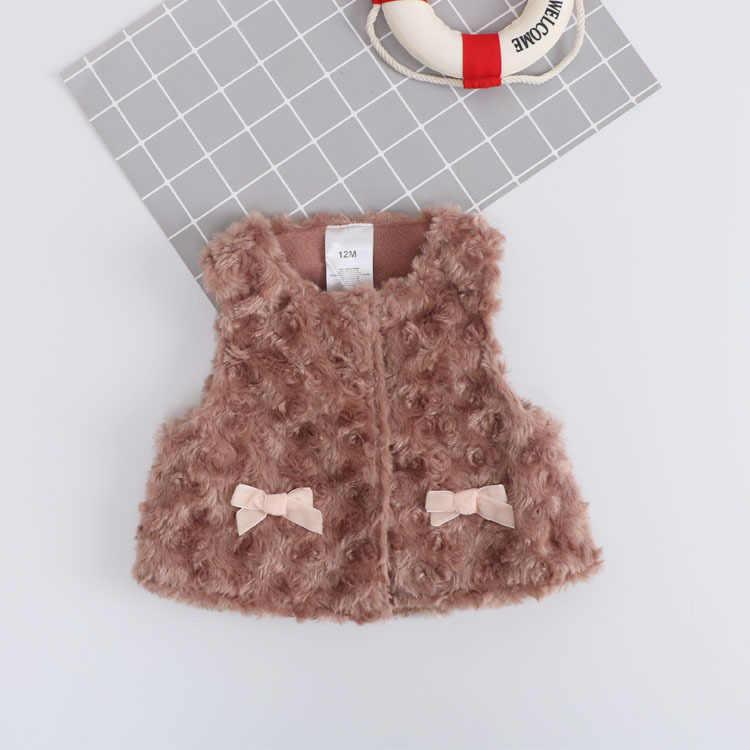 2018 Новое поступление, однотонный жилет с искусственным мехом, ребенок малыш, одежда для маленьких девочек, зимняя теплая одежда, детский жилет, плотное пальто, верхняя одежда
