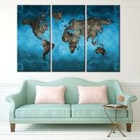 Mundo Mapas lienzo 3 unidades abstracta moderna azul mundo Mapas Wall Art HD imprimir pintura para sala de estar decoración