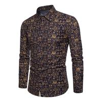 Fashion Men Casual Classic Printing Shirts Mens Novel Spring Autumn Features Large Size Tops Male Slim