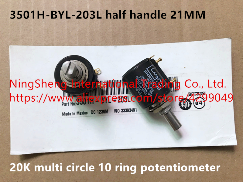 Original new 100% Mexico import 3501H-BYL-203L 20K multi circle 10 ring potentiometer half handle 21MM (SWITCH)