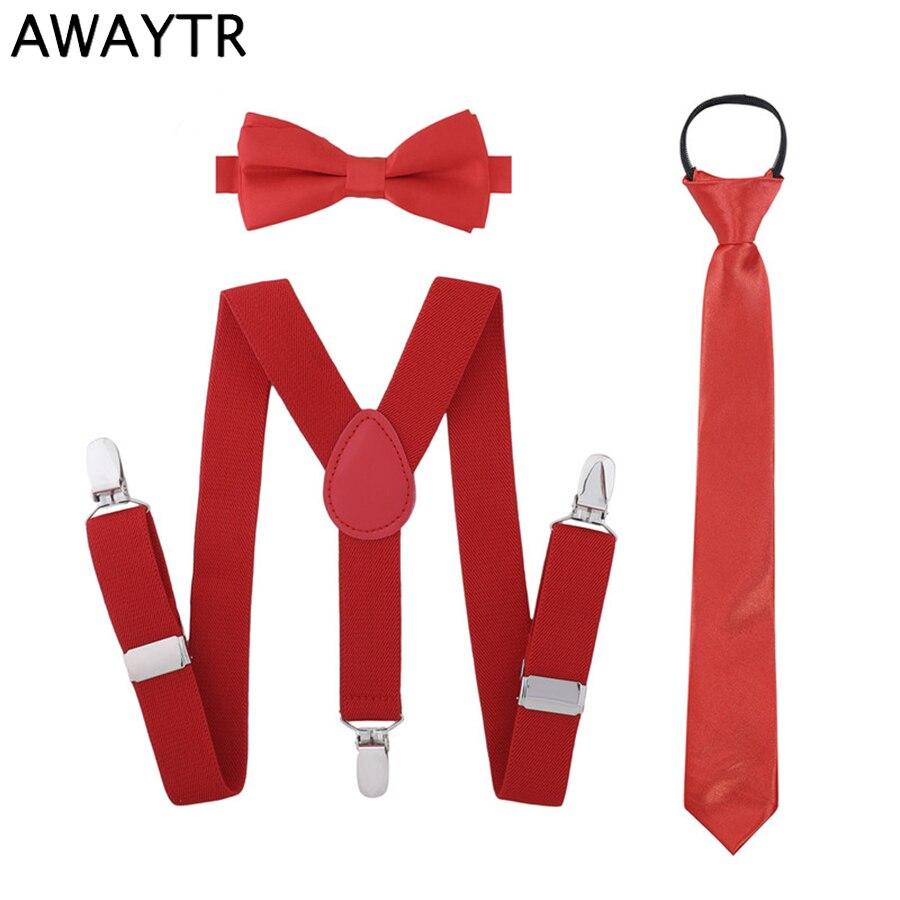 AWAYTR Elastic Suspender For Kids Bow Ties Zipper Neckties Braces Set Adjustable Suspender For Children 3 Clips Braces For Boys