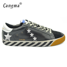 CANGMA Deluxe Brand Mens Designer Shoes Daily Genuine Leather Superstar Casual Men Black Classic Shoes Zapatillas Transpirables