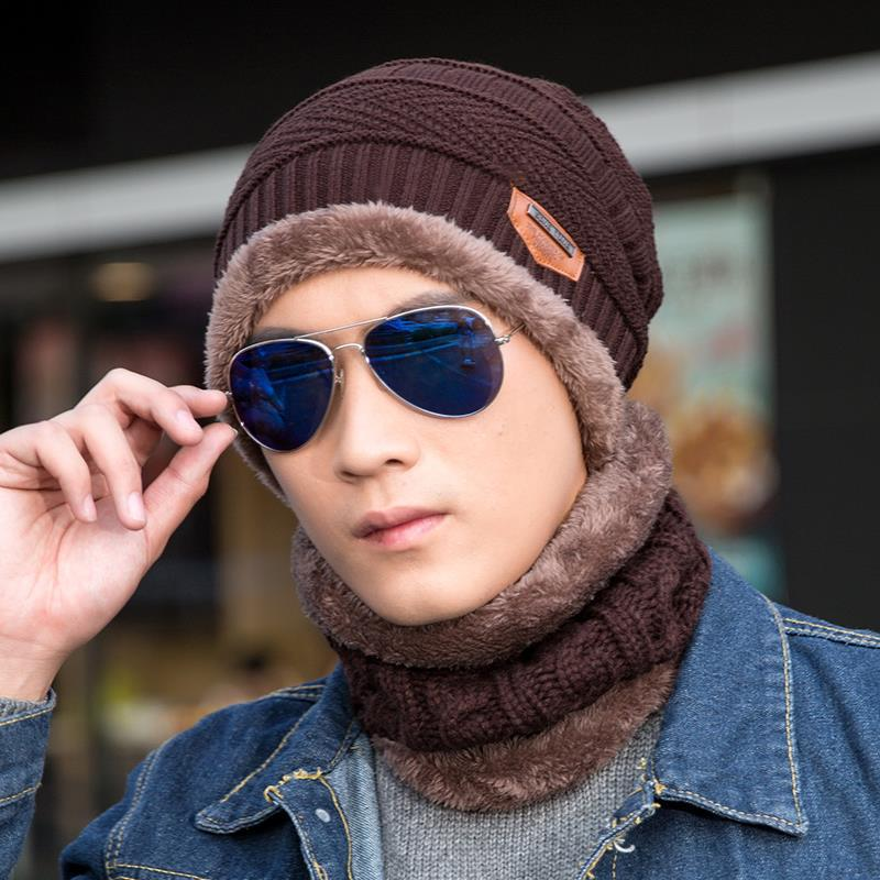 FAVOCENT Neck Warmer Winter Hat Knit Cap Scarf Set Cap Winter Hats For Men Knitted Hat Men Fur Lining Thick Hat   Skullies     Beanies