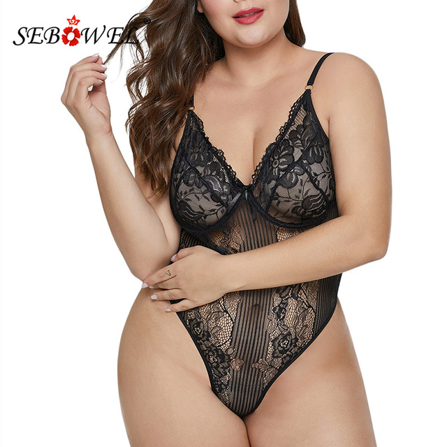 SEBOWEL Sexy Black/White Lace Transparent Bodysuit Women Plus size Sleeveless Teddy Jumpsuits Body Tops Femme Bodysuits XL-5XL