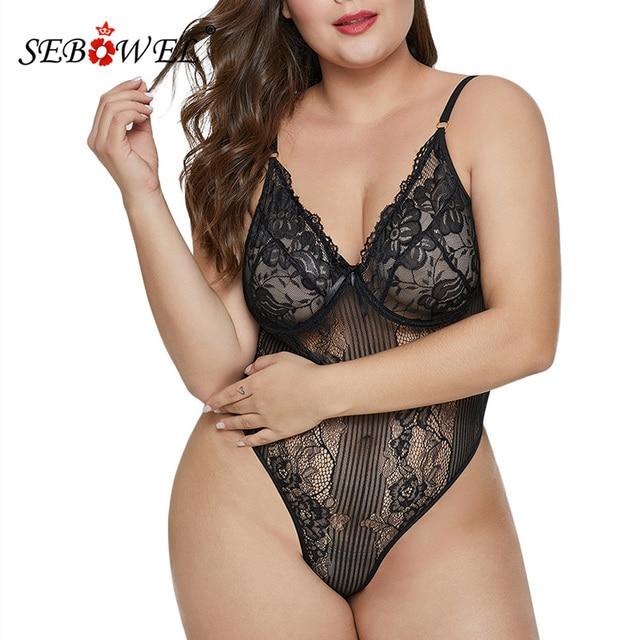 SEBOWEL Sexy Black/White Lace Transparent Bodysuit Women Plus size Sleeveless Teddy Jumpsuits Body Tops Femme Bodysuits XL-5XL