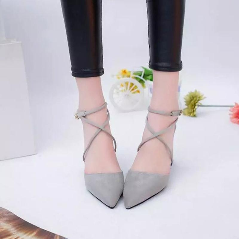 Women Fashion Sandals Cross-tied Pointed Toe Square Heel Solid Lace-Up Cover Heel PU Leather Shoes Woman Casual Sandals 3 Colors women genuine leather sandals fashion pointed toe causal shoes buckle solid color black pink orange spring shoes square heel