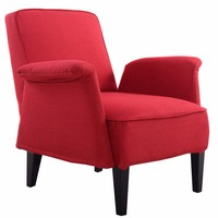 Giantex Upholstered Seat Accent Leisure Arm Chair Sofa Living Room Furniture Modern Fabric Wood Single Sofa