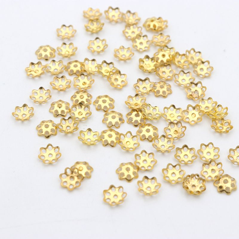 500Pcs Mixed Gold Silver Flower Beads End Caps Diy Accessories Component For Jewelry Making Finding Needlework Wholesale