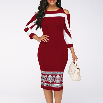Summer Autumn Dress Women 2019 Casual Plus Size Slim Office Pencil Bodycon Dresses Elegant Vintage Sexy Off Shoulder Party Dress 5