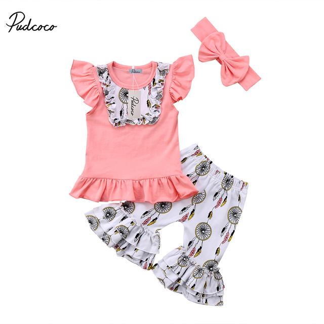 f376704c5f13f 2018 New Toddler Kid Baby Girls Wind Chimes Flare Sleeve Print Clothes Tops  Pants Headband 3Pcs Outfits Set