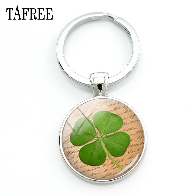 TAFREE Charm Plant Jewelry Lucky Four Leaf Clover Key Chain ring holder Retro BookPage Art men women Keychain Gift for car KC227 цена