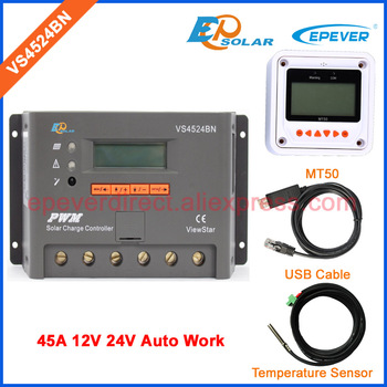 PWM 45A 24V solar charger controller EPSolar VS4524BN USB cable and temperature sensor EPEVER and MT50 remote meter 45amps