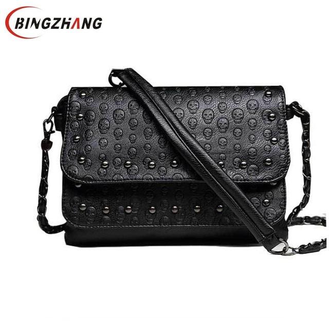 a845b79373 Hot Sale Women s Handbag Vintage Shoulder Bags Women Skull Messenger Bag  Chain Crossbody Rivet Leather Ladies