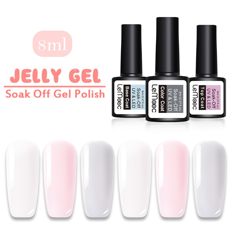Lemooc 1 Bottle 8ml Opal Jelly Gel White Color Coat Soak Off  For Nail Art UV Summer Gel Polish Varnish Lacquer
