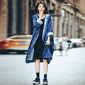 Women Denim Trench Coats 2016 Autumn Streetwear Casual Loose Long Straight Outwear Cardigan Ladies Solid Long Sleeve Hooded Tops