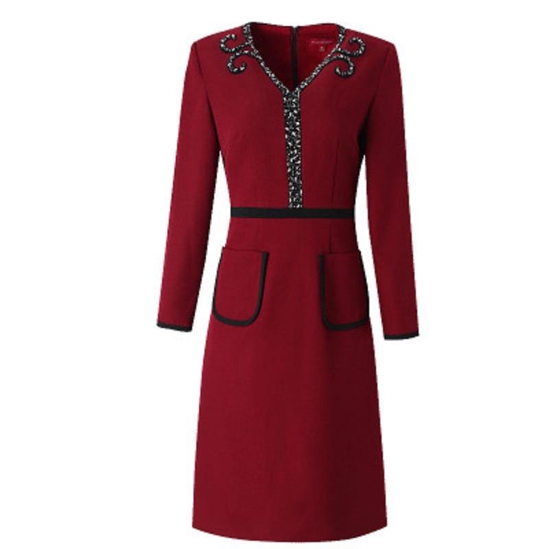 Office Perles Hiver Lady Cou Plus Manches V La New Bureau Travail Robes Supérieure Robe Taille Longues Bourgogne Qualité Femmes 2018 Ressort Ol 4r4xRg