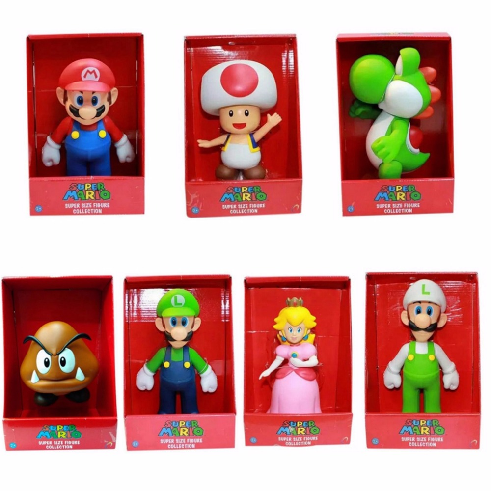 23cm Japan Super Mario Bros Figure Yoshi Peach Princess Toad Bowser Goomba Mushroom PVC Action Figure Toy Mario Luigi Figure Toy цена 2017